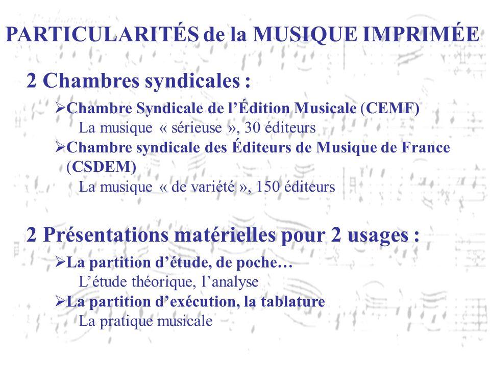 PARTICULARITÉS de la MUSIQUE IMPRIMÉE Chambre Syndicale de lÉdition Musicale (CEMF) La musique « sérieuse », 30 éditeurs Chambre syndicale des Éditeur