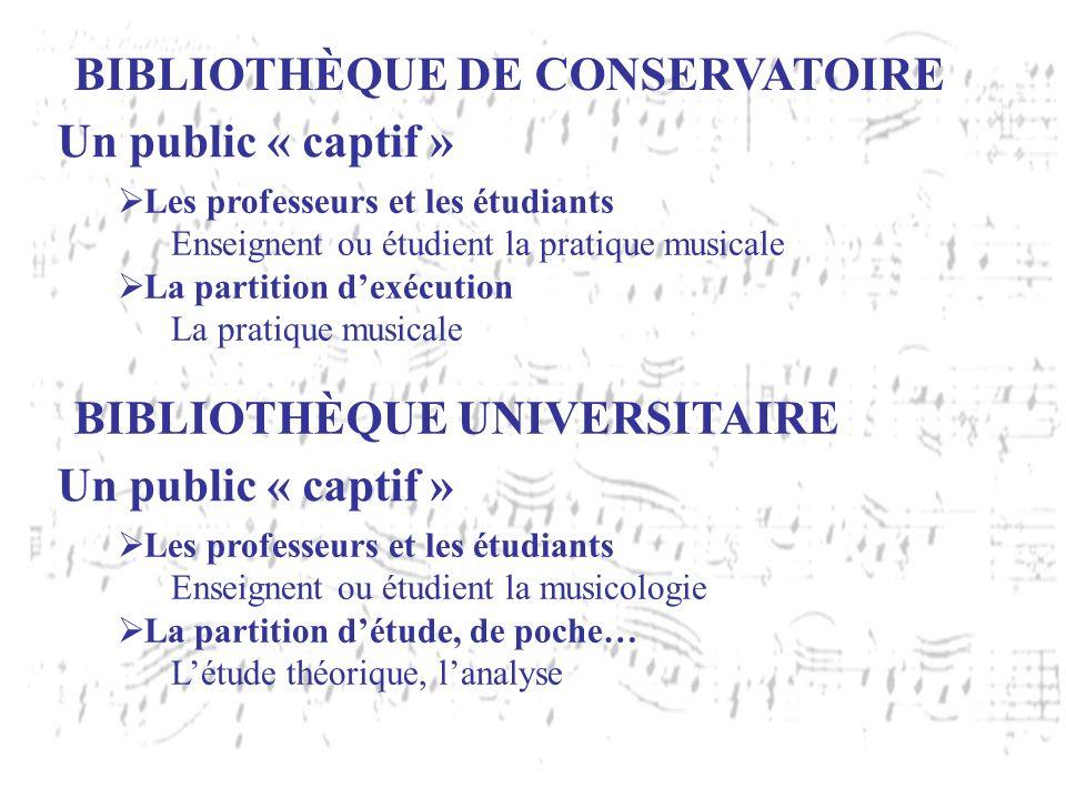 BIBLIOTHÈQUE DE CONSERVATOIRE Un public « captif » Les professeurs et les étudiants Enseignent ou étudient la pratique musicale La partition dexécutio