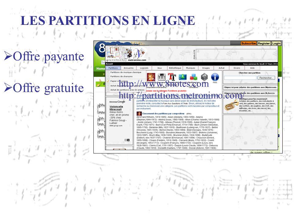 LES PARTITIONS EN LIGNE Offre payante Offre gratuite http://www.noviscore.fr http://www.stretta-music.com/fr http://www.8notes.com http://partitions.m