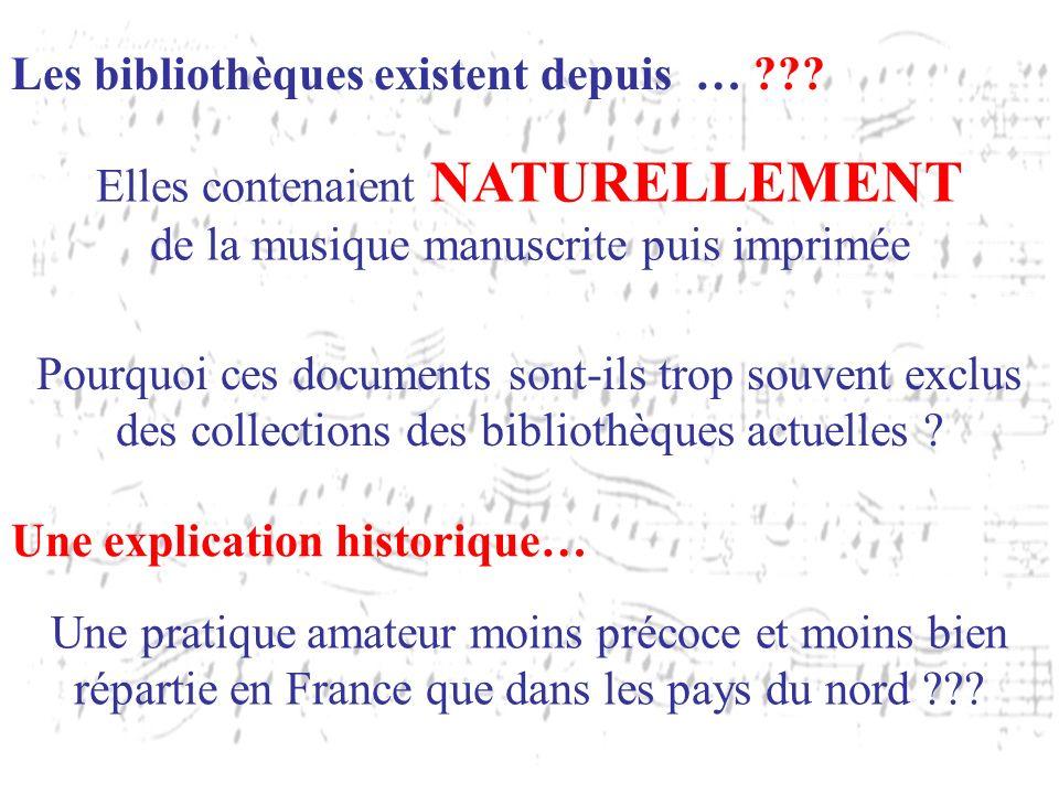 Les bibliothèques existent depuis … ??? Elles contenaient NATURELLEMENT de la musique manuscrite puis imprimée Pourquoi ces documents sont-ils trop so