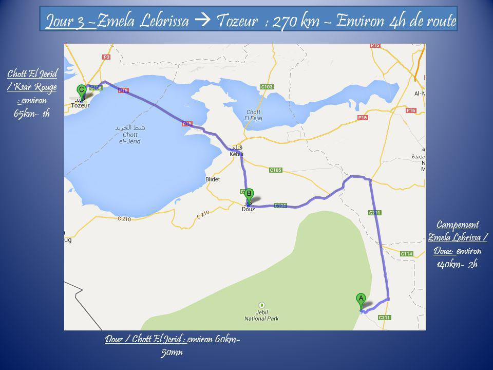 Jour 3 –Zmela Lebrissa Tozeur : 270 km – Environ 4h de route Campement Zmela Lebrissa / Douz: environ 140km- 2h Douz / Chott El Jerid : environ 60km-