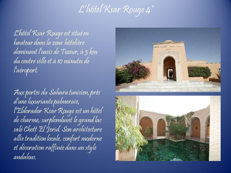 L'hôtel Ksar Rouge est situé en hauteur dans la zone hôtelière dominant l'oasis de Tozeur, à 3 km du centre ville et à 10 minutes de l'aéroport. Aux p