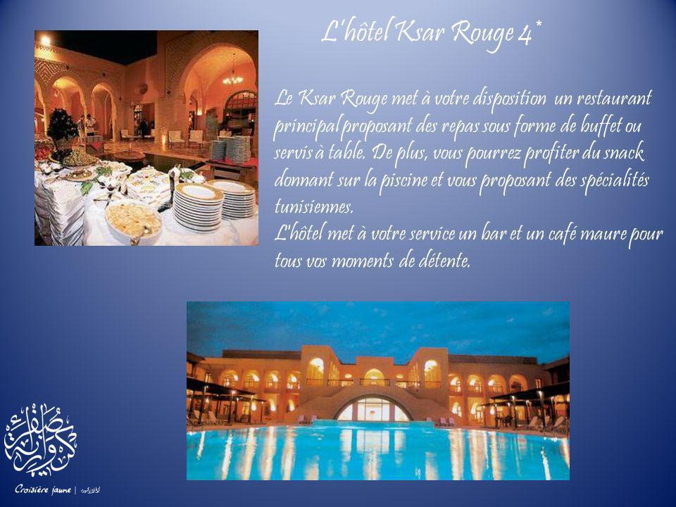 Le Ksar Rouge met à votre disposition un restaurant principal proposant des repas sous forme de buffet ou servis à table. De plus, vous pourrez profit
