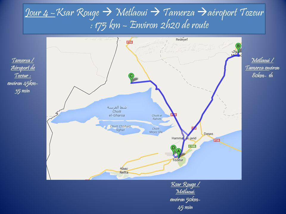 Jour 4 –Ksar Rouge Metlaoui Tamerza aéroport Tozeur : 175 km – Environ 2h20 de route Ksar Rouge / Metlaoui: environ 50km- 45 min Tamerza / Aéroport de