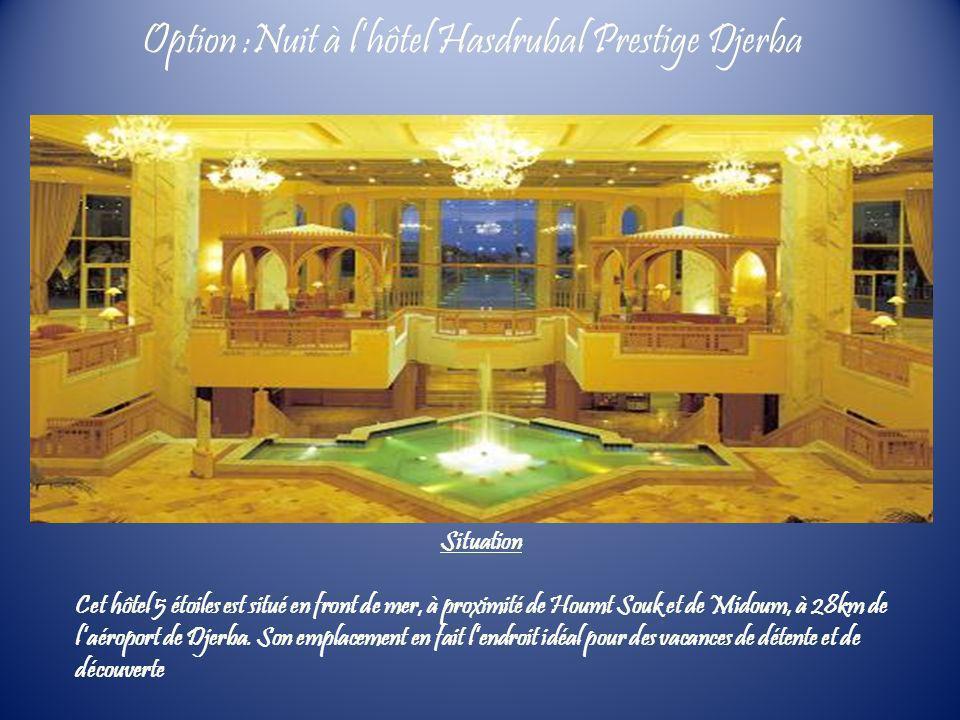 Situation Cet hôtel 5 étoiles est situé en front de mer, à proximité de Houmt Souk et de Midoum, à 28km de laéroport de Djerba. Son emplacement en fai