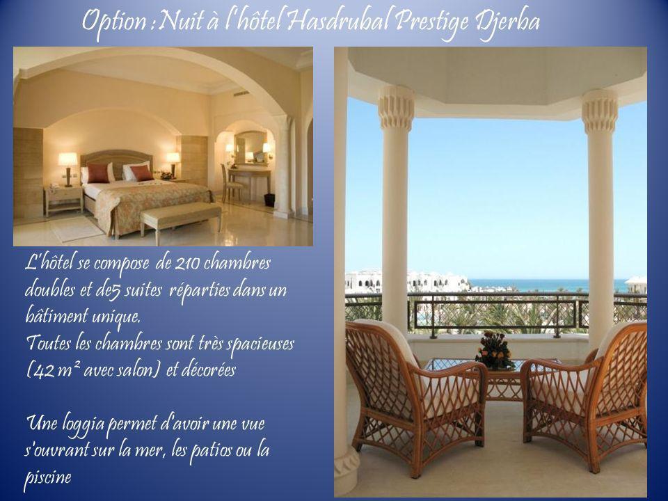 Lhôtel se compose de 210 chambres doubles et de5 suites réparties dans un bâtiment unique. Toutes les chambres sont très spacieuses (42 m² avec salon)