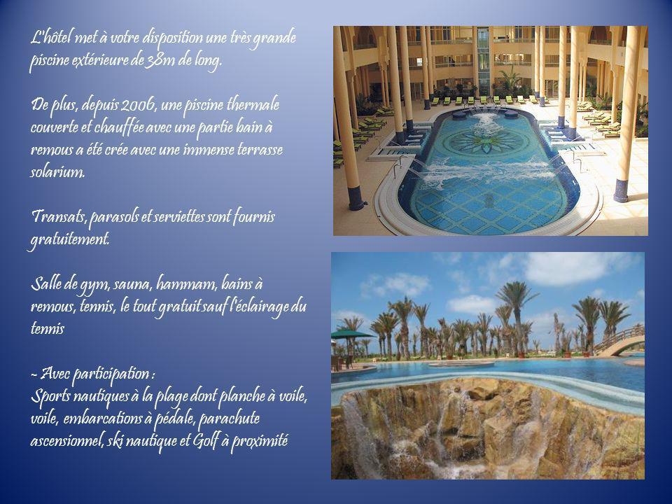 L'hôtel met à votre disposition une très grande piscine extérieure de 38m de long. De plus, depuis 2006, une piscine thermale couverte et chauffée ave