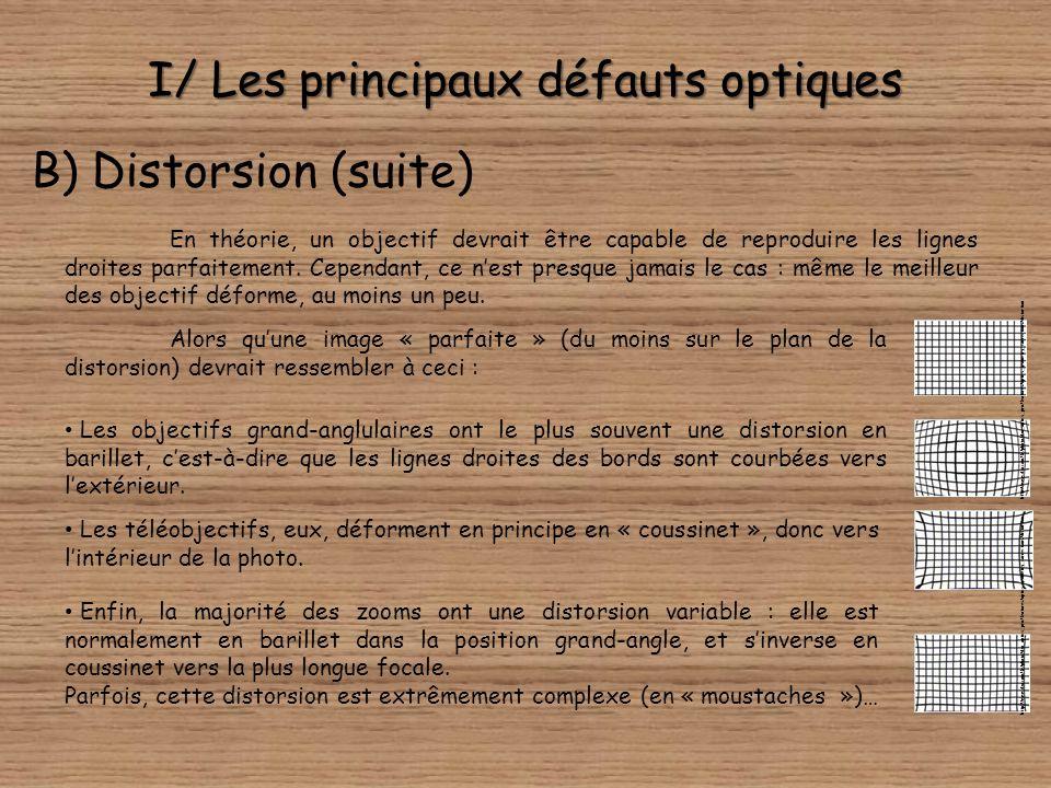 I/ Les principaux défauts optiques B) Distorsion La distorsion, elle aussi, est facilement identifiable sur une image. Il sagit de la courbure des lig