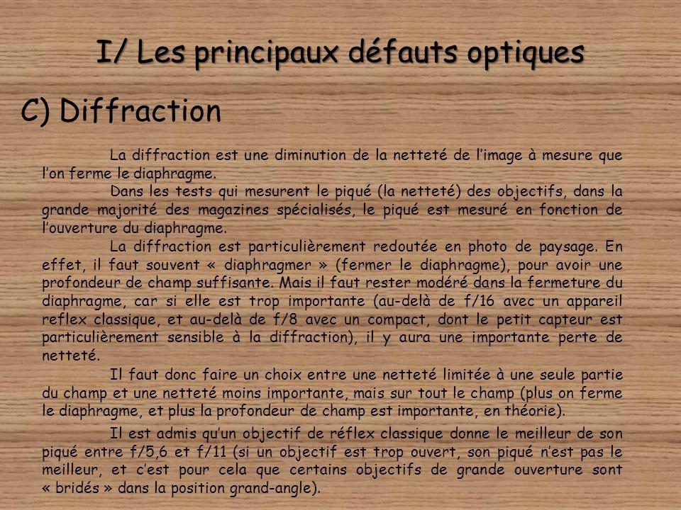 I/ Les principaux défauts optiques B) Distorsion (causes) Nous voyons sur ces schémas que la cause de la distorsion est en fait la position du diaphra