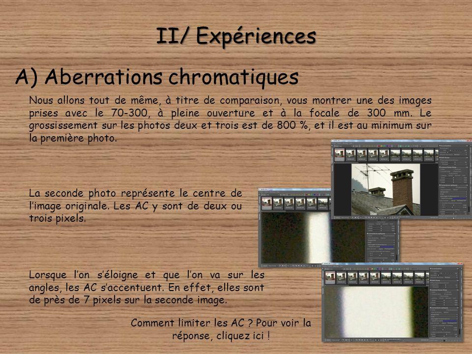II/ Expériences A) Aberrations chromatiques Lextrait de photo ci-dessous a été pris avec un 14-54 mm f/2,8-3,5. Nous navons à notre grand regret pas d
