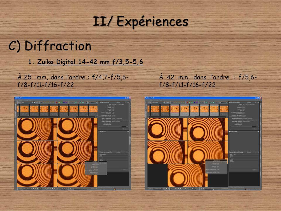 II/ Expériences C) Diffraction Comme nous lavons dit précédemment, nous avons pour montrer ce défaut optique utilisé une mire. Nous avons photographié