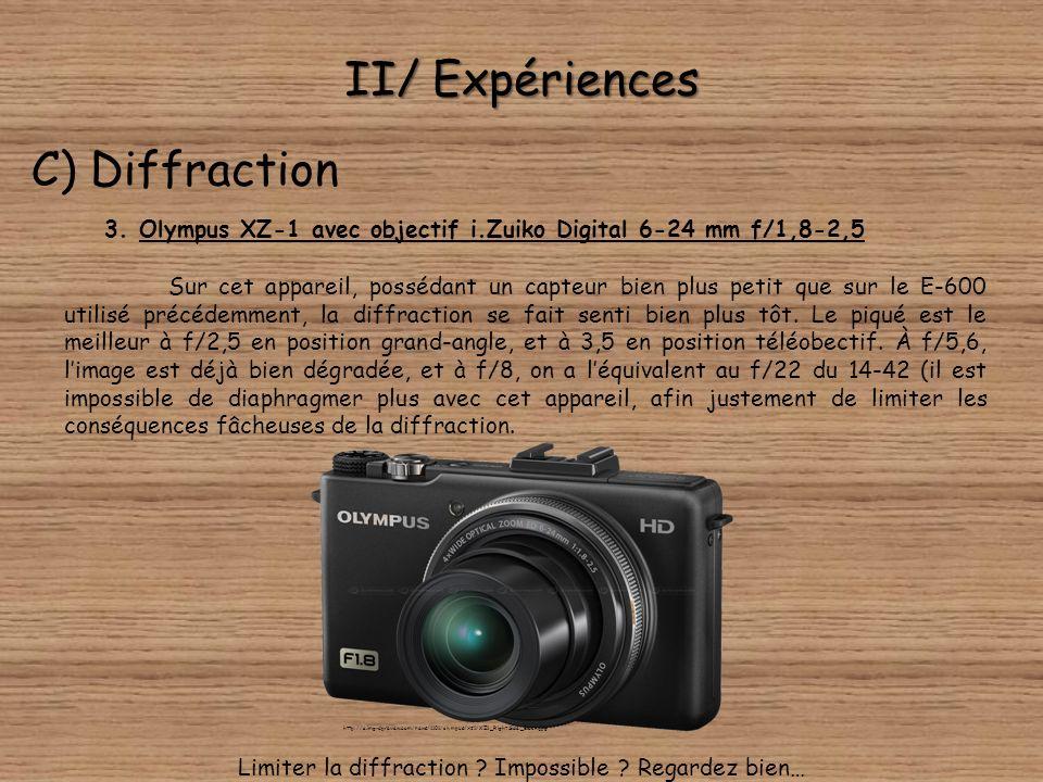 II/ Expériences C) Diffraction 3. Olympus XZ-1 avec objectif i.Zuiko Digital 6-24 mm f/1,8-2,5 À la position grand-angle, dans lordre : f/1,8-f/2,5-f/