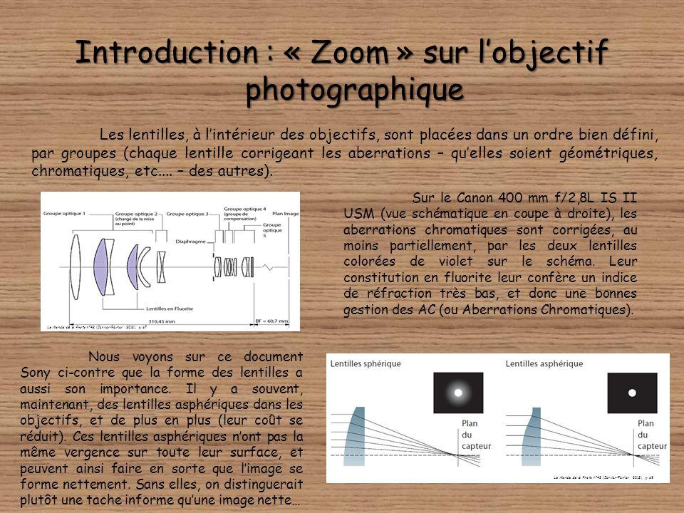 Introduction : « Zoom » sur lobjectif photographique Sur le Canon 400 mm f/2,8L IS II USM (vue schématique en coupe à droite), les aberrations chromatiques sont corrigées, au moins partiellement, par les deux lentilles colorées de violet sur le schéma.