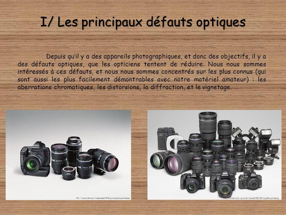 I/ Les principaux défauts optiques Depuis quil y a des appareils photographiques, et donc des objectifs, il y a des défauts optiques, que les opticiens tentent de réduire.
