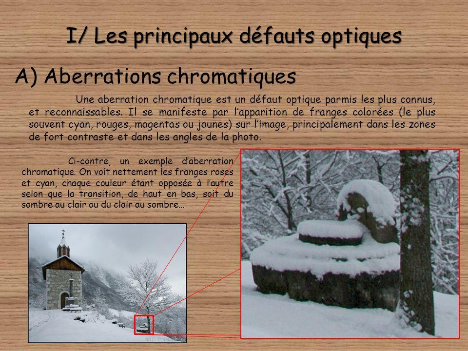 I/ Les principaux défauts optiques A) Aberrations chromatiques Une aberration chromatique est un défaut optique parmis les plus connus, et reconnaissables.