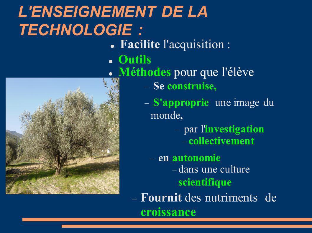 L'ENSEIGNEMENT DE LA TECHNOLOGIE : Facilite l'acquisition : Outils Méthodes pour que l'élève Se construise, S'approprie une image du monde, par l'inve
