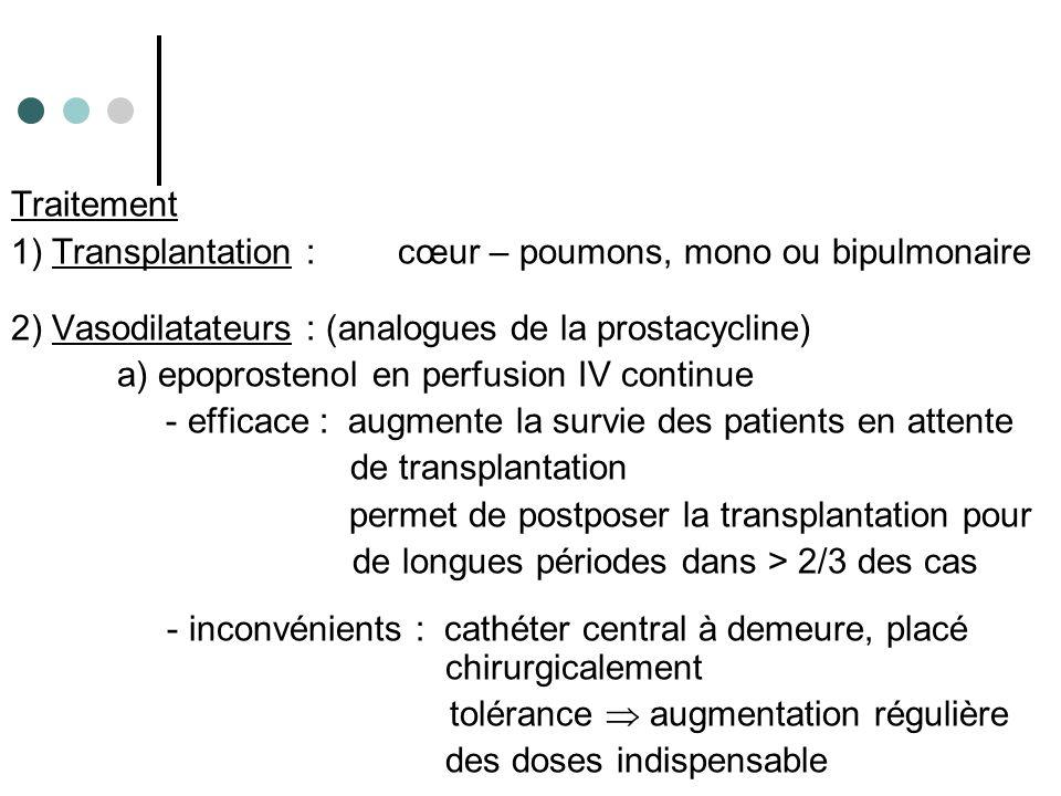 Traitement 1) Transplantation : cœur – poumons, mono ou bipulmonaire 2) Vasodilatateurs : (analogues de la prostacycline) a) epoprostenol en perfusion