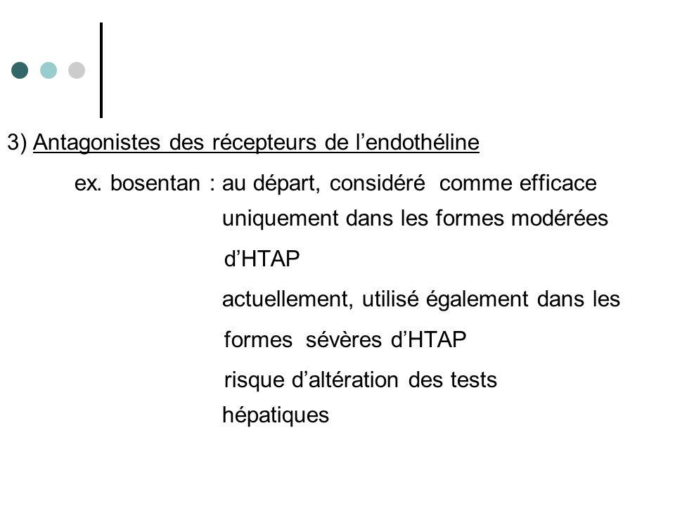 3) Antagonistes des récepteurs de lendothéline ex. bosentan : au départ, considéré comme efficace uniquement dans les formes modérées dHTAP actuelleme