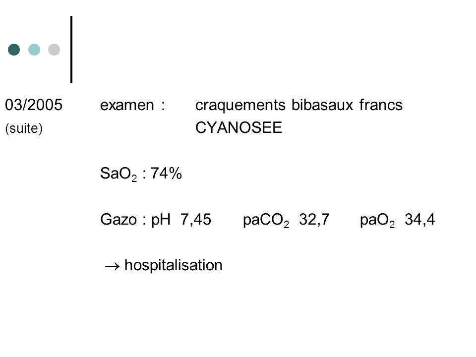 03/2005examen : craquements bibasaux francs (suite) CYANOSEE SaO 2 : 74% Gazo : pH 7,45paCO 2 32,7 paO 2 34,4 hospitalisation