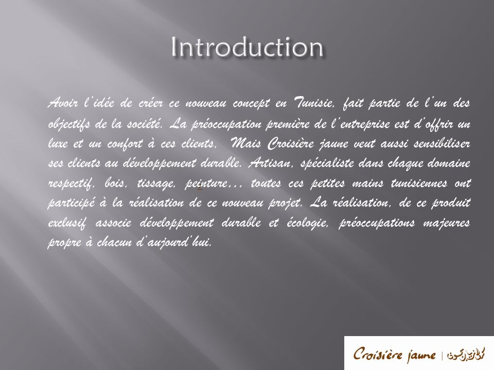 Introduction Avoir lidée de créer ce nouveau concept en Tunisie, fait partie de lun des objectifs de la société. La préoccupation première de lentrepr