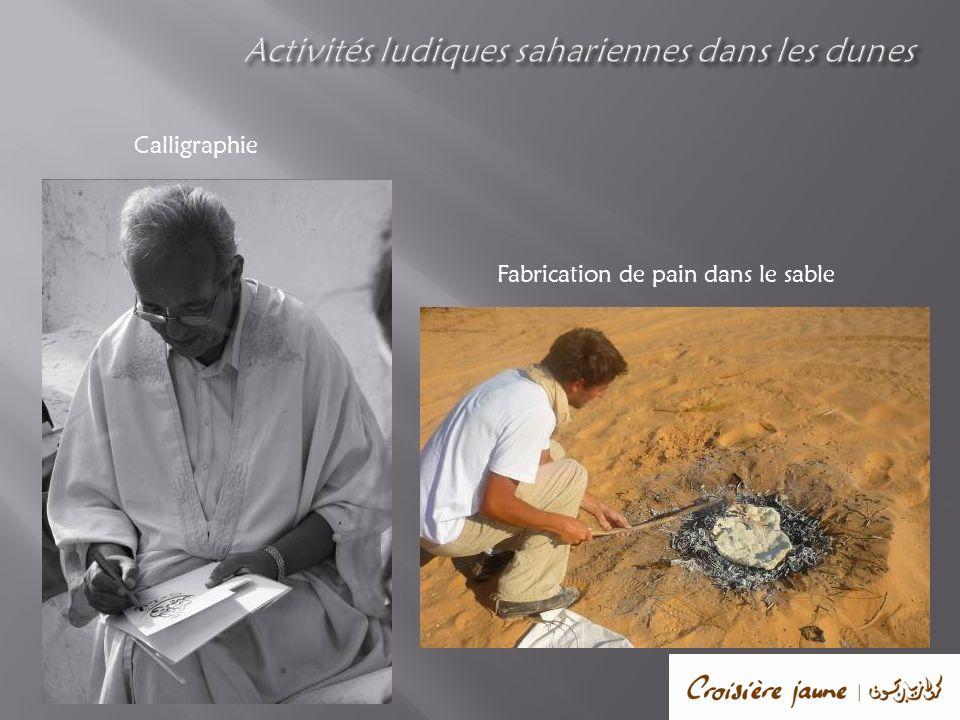 Calligraphie Fabrication de pain dans le sable