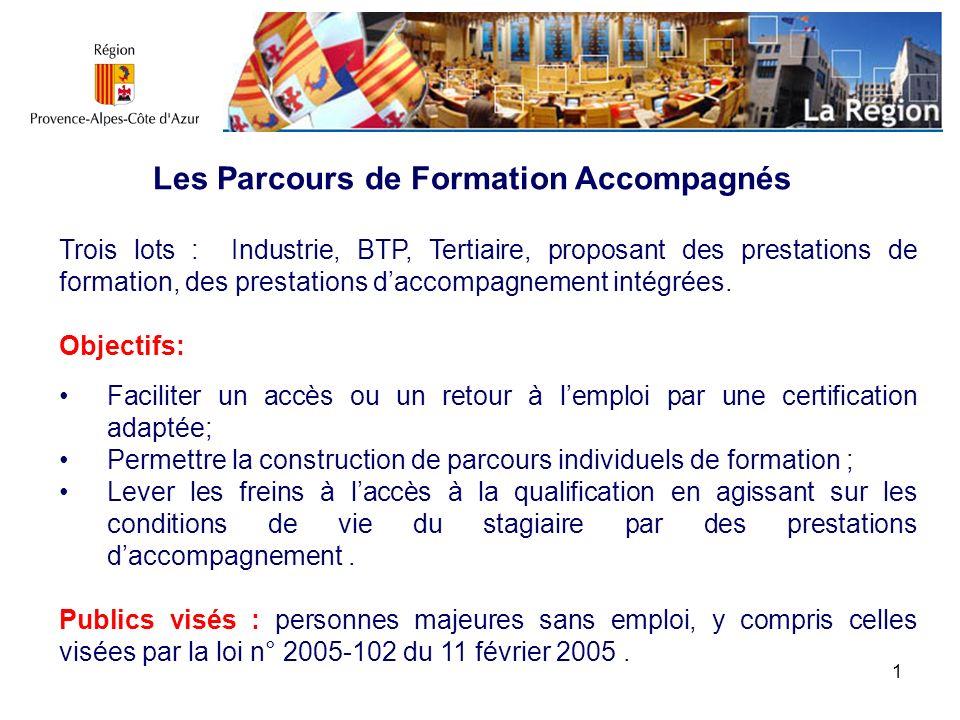 1 Les Parcours de Formation Accompagnés Trois lots : Industrie, BTP, Tertiaire, proposant des prestations de formation, des prestations daccompagnemen