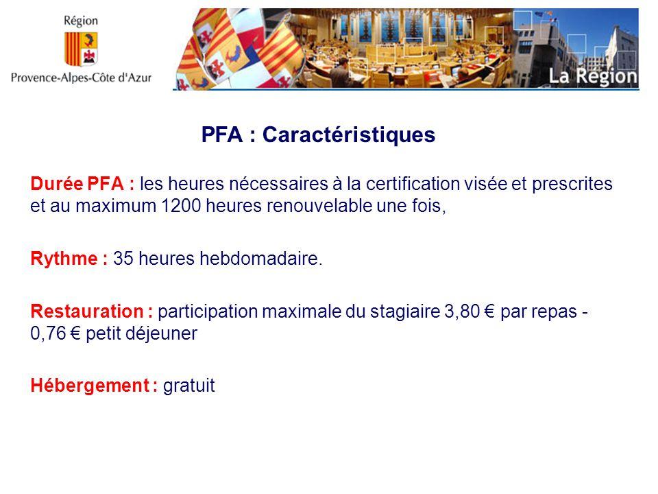Durée PFA : les heures nécessaires à la certification visée et prescrites et au maximum 1200 heures renouvelable une fois, Rythme : 35 heures hebdomad