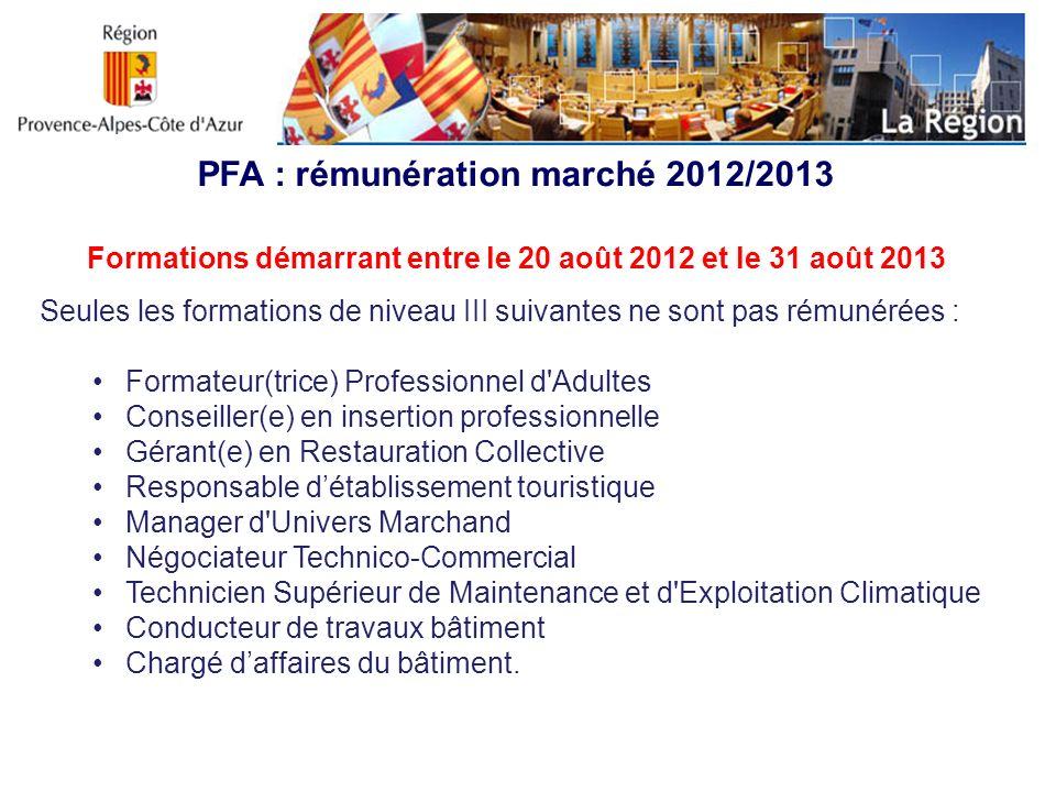 PFA : rémunération marché 2012/2013 Formations démarrant entre le 20 août 2012 et le 31 août 2013 Seules les formations de niveau III suivantes ne son