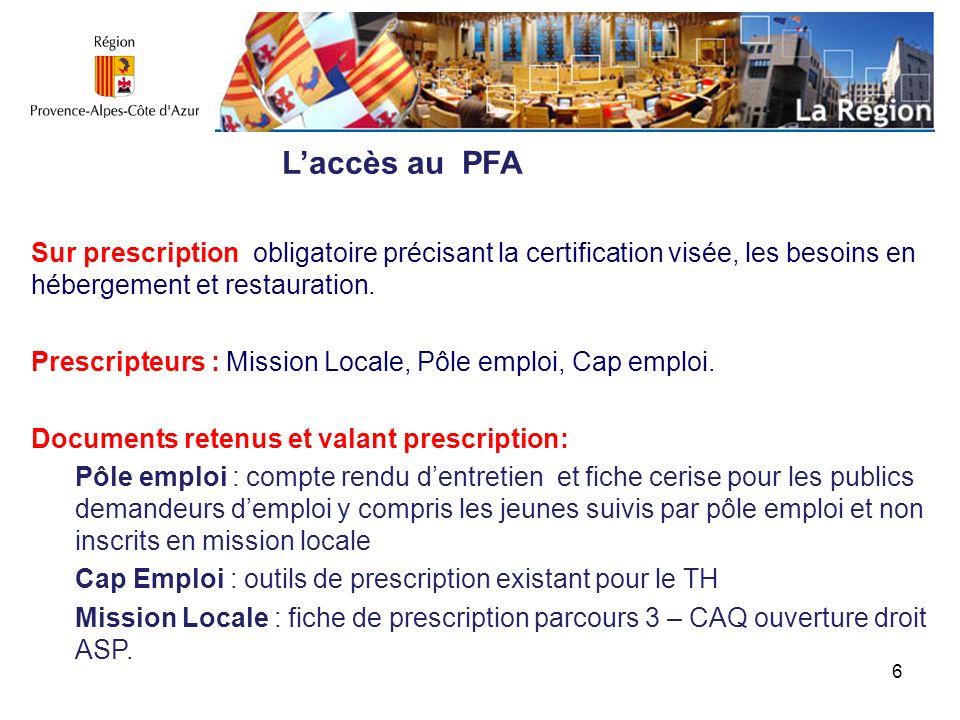 7 Lordre des entrées sur le PFA : A prés-requis équivalents, lordre des entrées sur le PFA se fera sur la date de prescription.