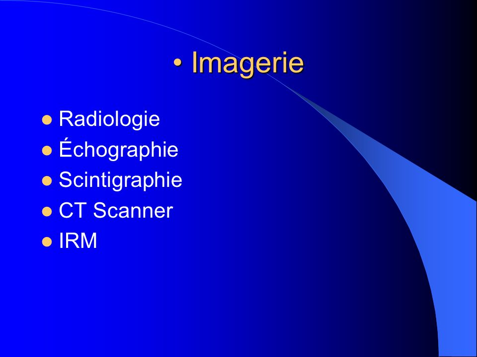 Imagerie Imagerie Radiologie Échographie Scintigraphie CT Scanner IRM