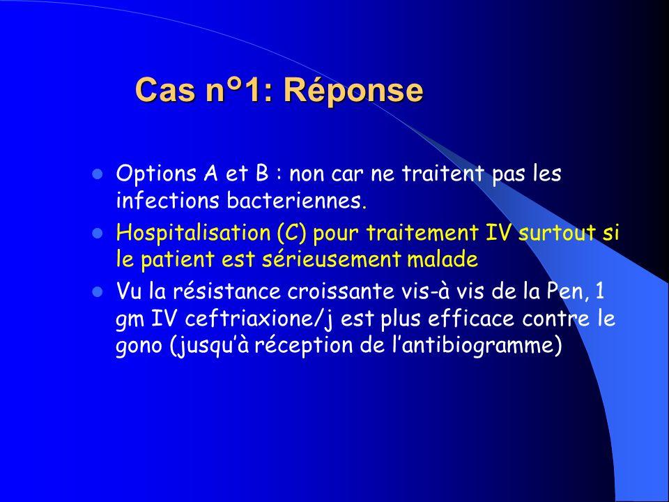 Cas n°1: Réponse Cas n°1: Réponse Options A et B : non car ne traitent pas les infections bacteriennes. Hospitalisation (C) pour traitement IV surtout