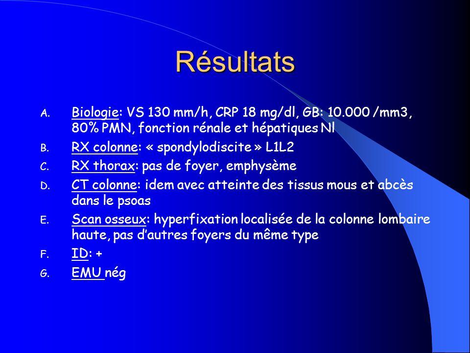 Résultats A. Biologie: VS 130 mm/h, CRP 18 mg/dl, GB: 10.000 /mm3, 80% PMN, fonction rénale et hépatiques Nl B. RX colonne: « spondylodiscite » L1L2 C