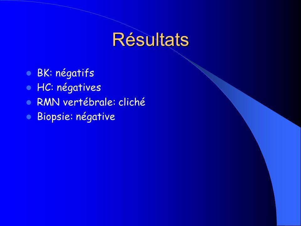 Résultats BK: négatifs HC: négatives RMN vertébrale: cliché Biopsie: négative