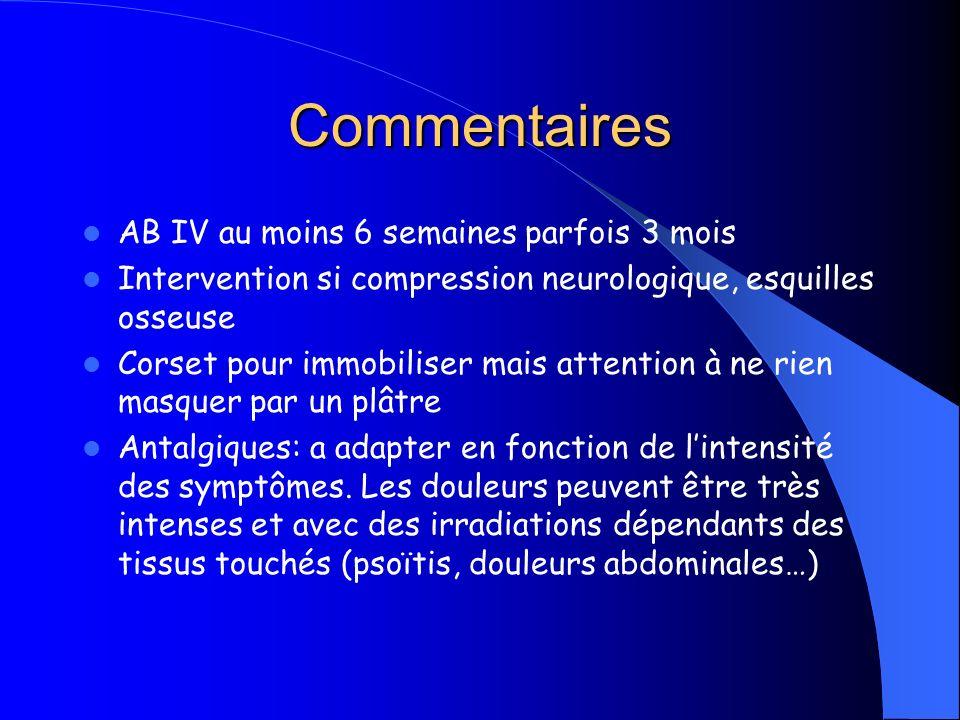 Commentaires AB IV au moins 6 semaines parfois 3 mois Intervention si compression neurologique, esquilles osseuse Corset pour immobiliser mais attenti