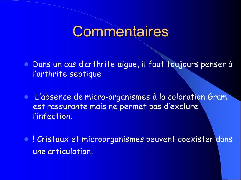 Commentaires Dans un cas darthrite aigue, il faut toujours penser à larthrite septique Labsence de micro-organismes à la coloration Gram est rassurant