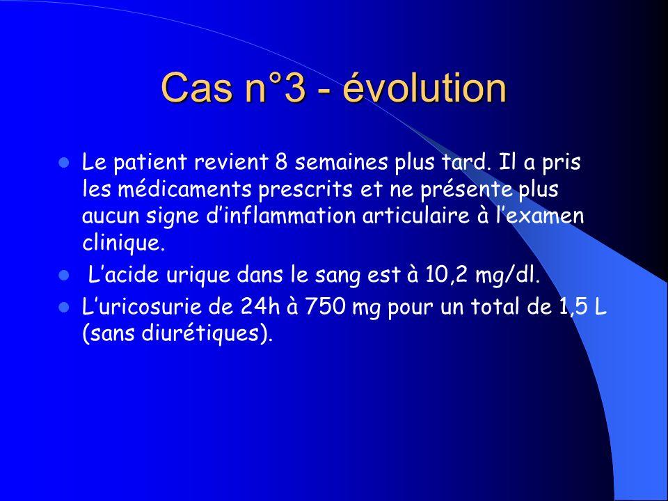 Cas n°3 - évolution Le patient revient 8 semaines plus tard. Il a pris les médicaments prescrits et ne présente plus aucun signe dinflammation articul