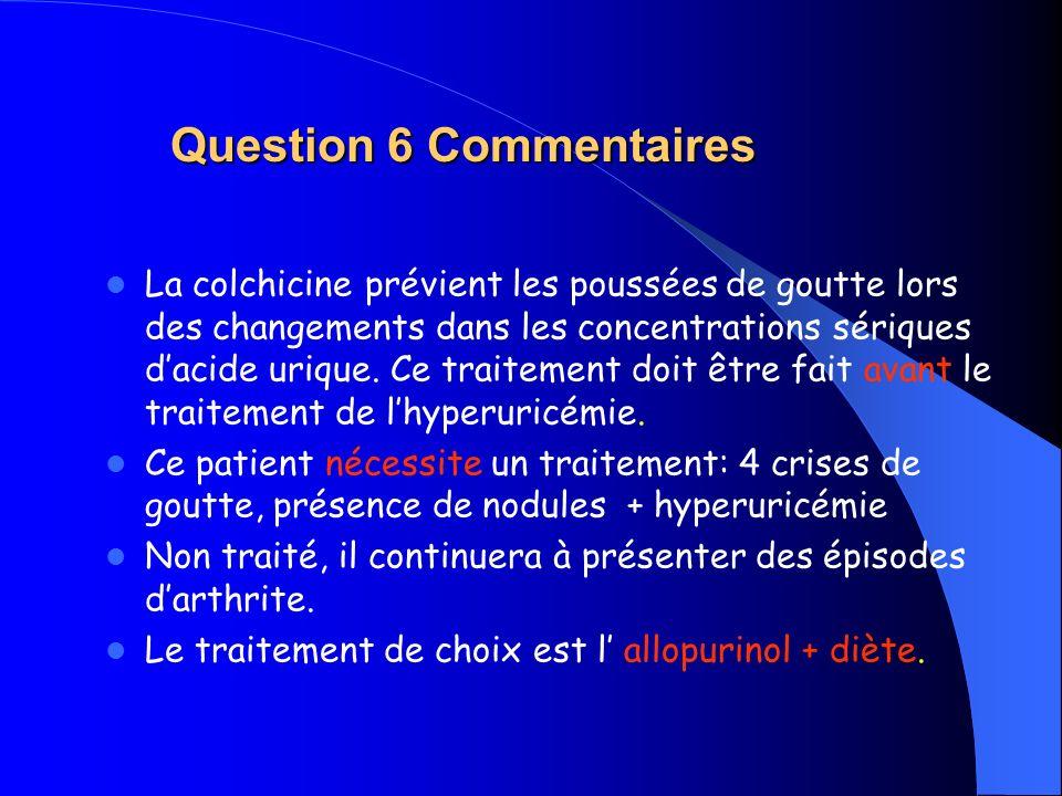 Question 6 Commentaires La colchicine prévient les poussées de goutte lors des changements dans les concentrations sériques dacide urique. Ce traiteme
