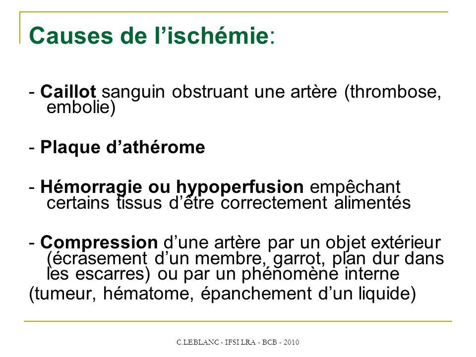 C.LEBLANC - IFSI LRA - BCB - 2010 Causes de lischémie: - Caillot sanguin obstruant une artère (thrombose, embolie) - Plaque dathérome - Hémorragie ou