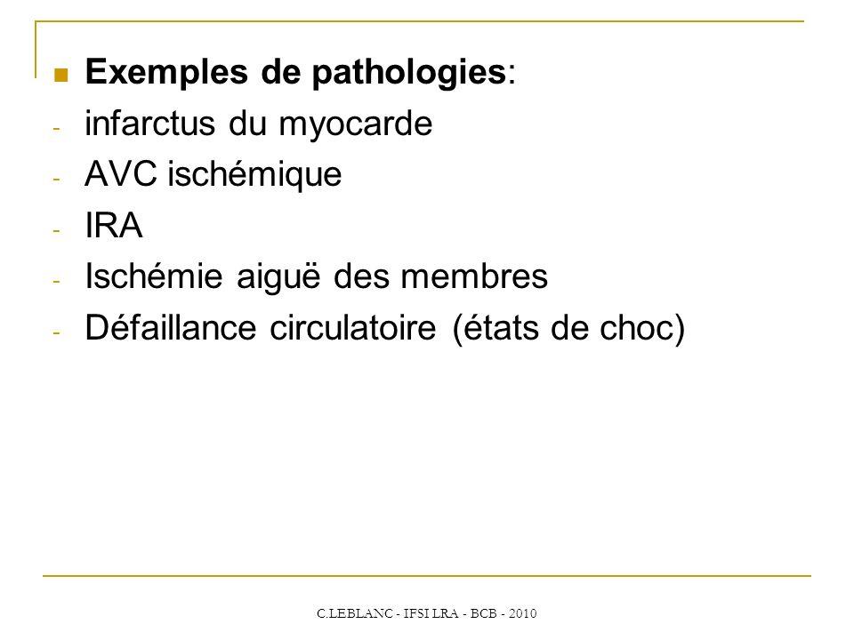 C.LEBLANC - IFSI LRA - BCB - 2010 Exemples de pathologies: - infarctus du myocarde - AVC ischémique - IRA - Ischémie aiguë des membres - Défaillance c