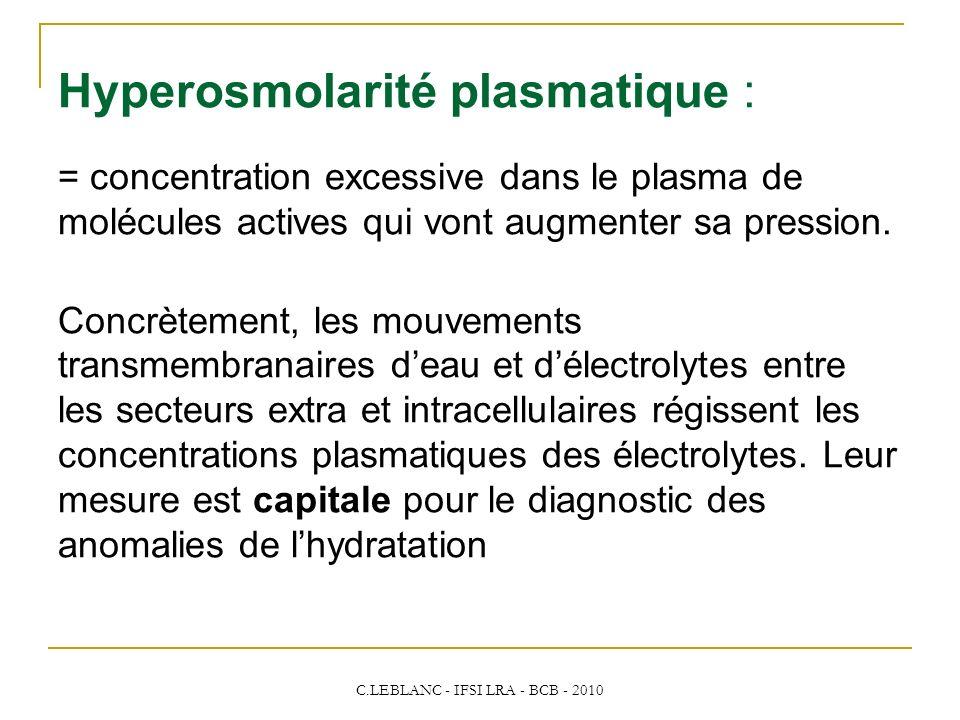 C.LEBLANC - IFSI LRA - BCB - 2010 Hyperosmolarité plasmatique : = concentration excessive dans le plasma de molécules actives qui vont augmenter sa pr