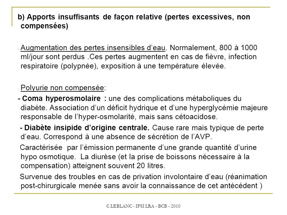 C.LEBLANC - IFSI LRA - BCB - 2010 b) Apports insuffisants de façon relative (pertes excessives, non compensées) - Augmentation des pertes insensibles