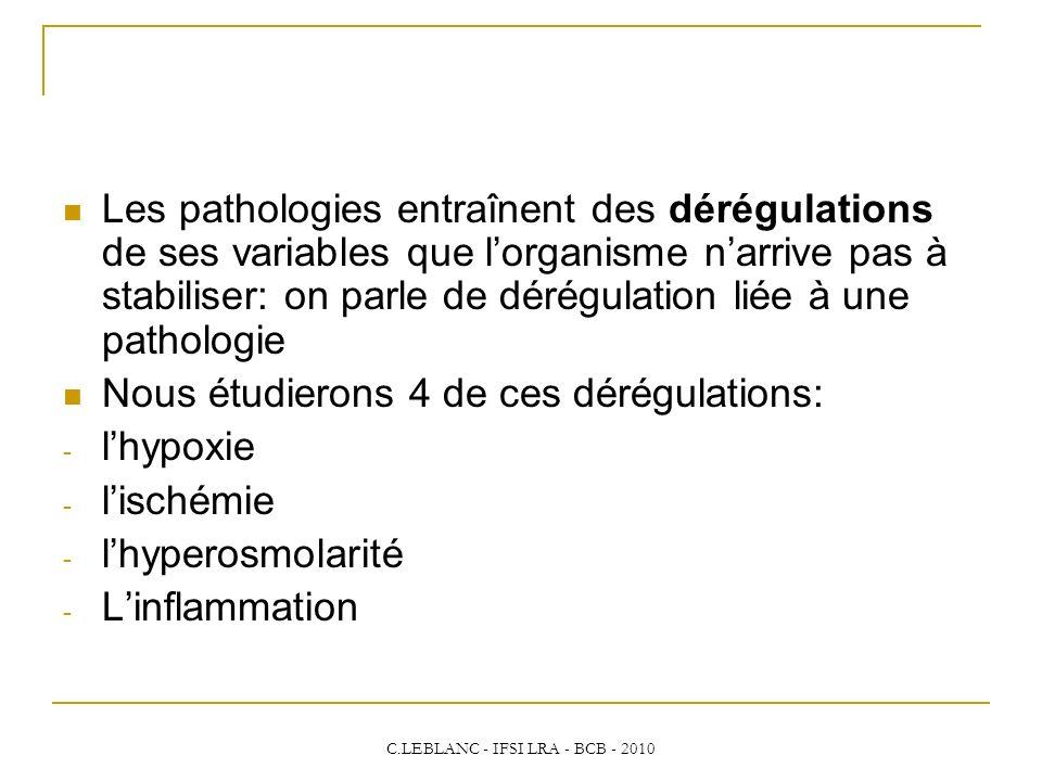 C.LEBLANC - IFSI LRA - BCB - 2010 Les pathologies entraînent des dérégulations de ses variables que lorganisme narrive pas à stabiliser: on parle de d