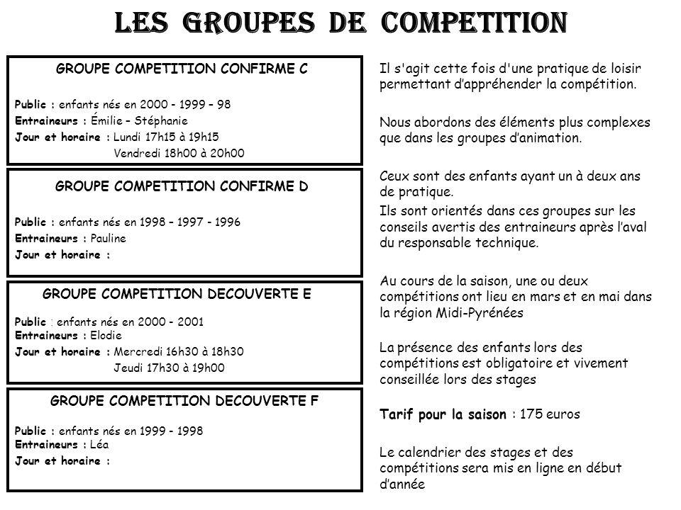 GROUPE COMPETITION CONFIRME C Public : enfants nés en 2000 - 1999 – 98 Entraineurs : Émilie – Stéphanie Jour et horaire : Lundi 17h15 à 19h15 Vendredi