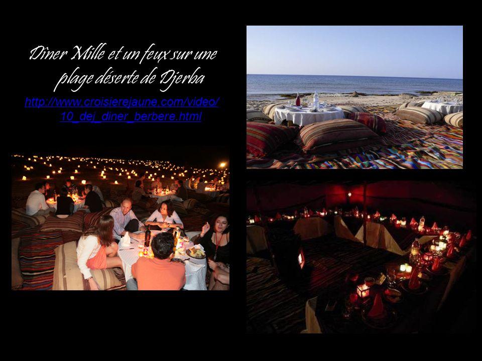 Dîner Mille et un feux sur une plage déserte de Djerba http://www.croisierejaune.com/video/ 10_dej_diner_berbere.html