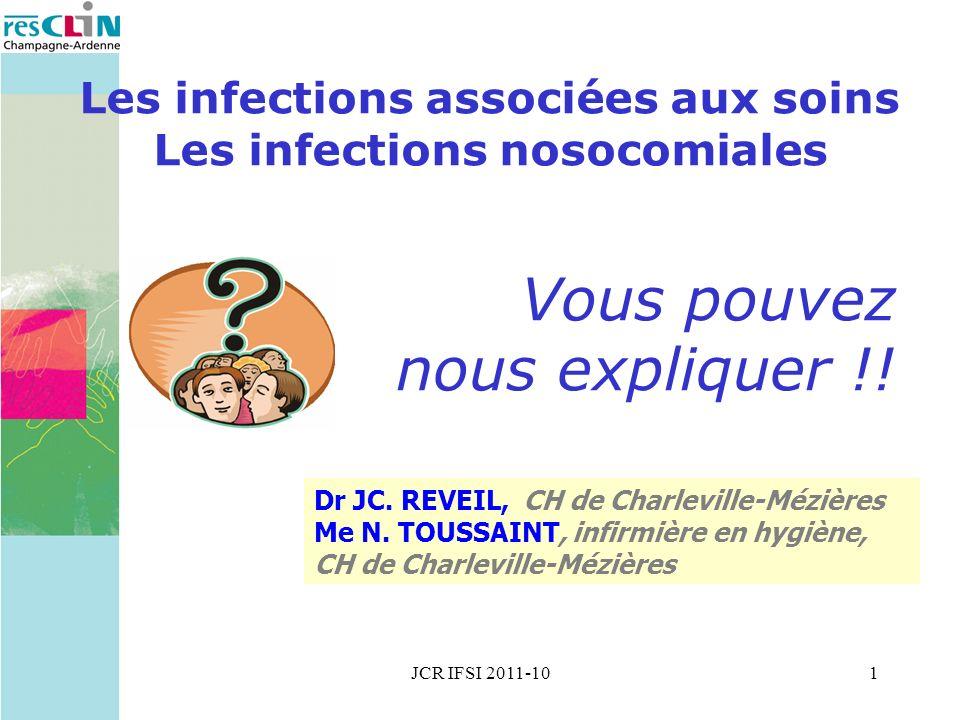 JCR IFSI 2011-101 Les infections associées aux soins Les infections nosocomiales Vous pouvez nous expliquer !.