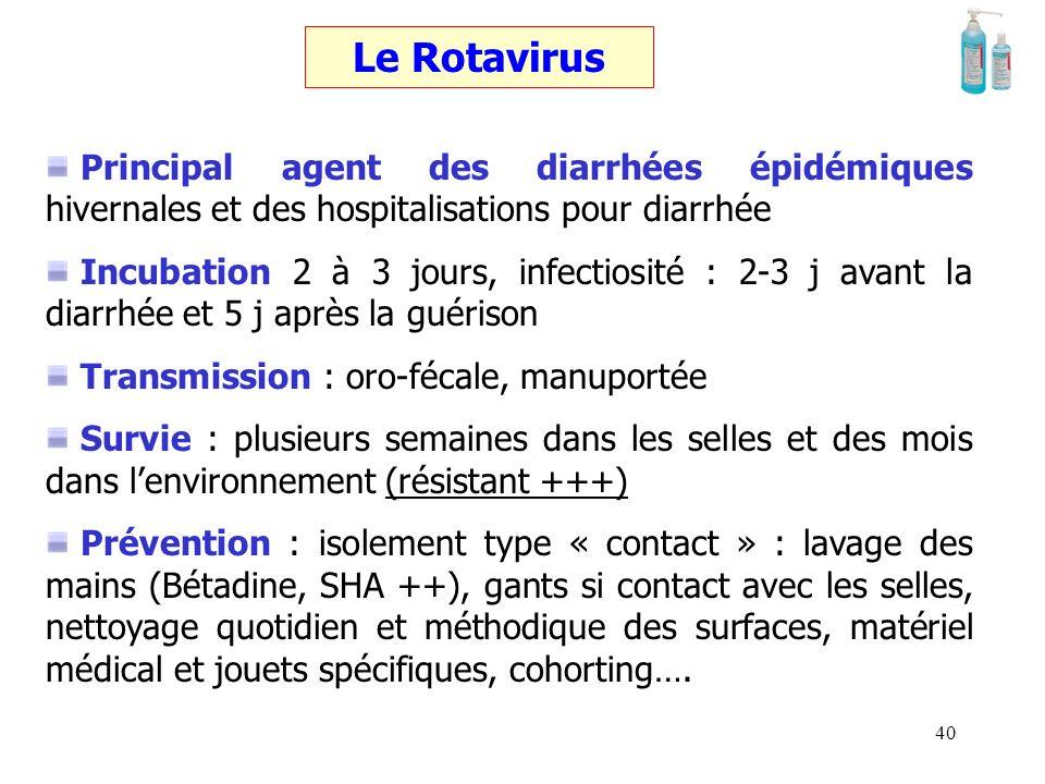 39 Le VRS Problème majeur : touche 50 % des nourrissons < 1 an pendant la saison froide Incubation 3 à 6 jours, infectiosité : 7 jours Transmission :