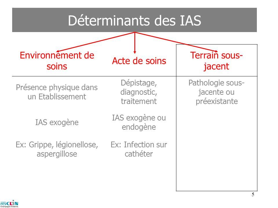 4 Déterminants des IAS Environnement de soins Acte de soins Terrain sous- jacent Présence physique dans un Etablissement Dépistage, diagnostic, traite