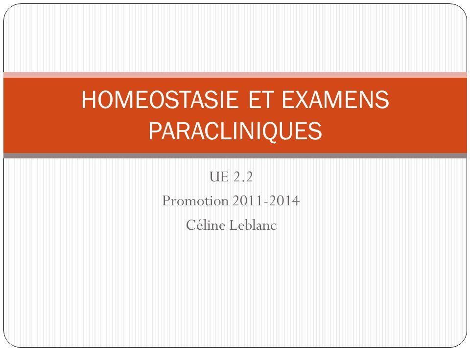 UE 2.2 Promotion 2011-2014 Céline Leblanc HOMEOSTASIE ET EXAMENS PARACLINIQUES