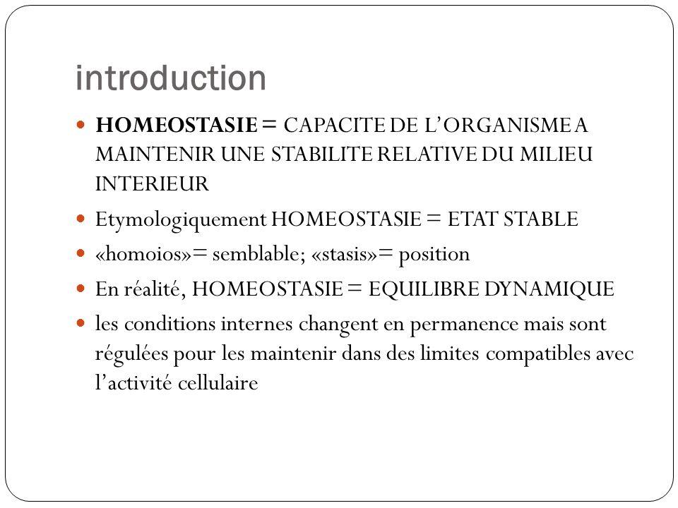 introduction HOMEOSTASIE = CAPACITE DE LORGANISME A MAINTENIR UNE STABILITE RELATIVE DU MILIEU INTERIEUR Etymologiquement HOMEOSTASIE = ETAT STABLE «h