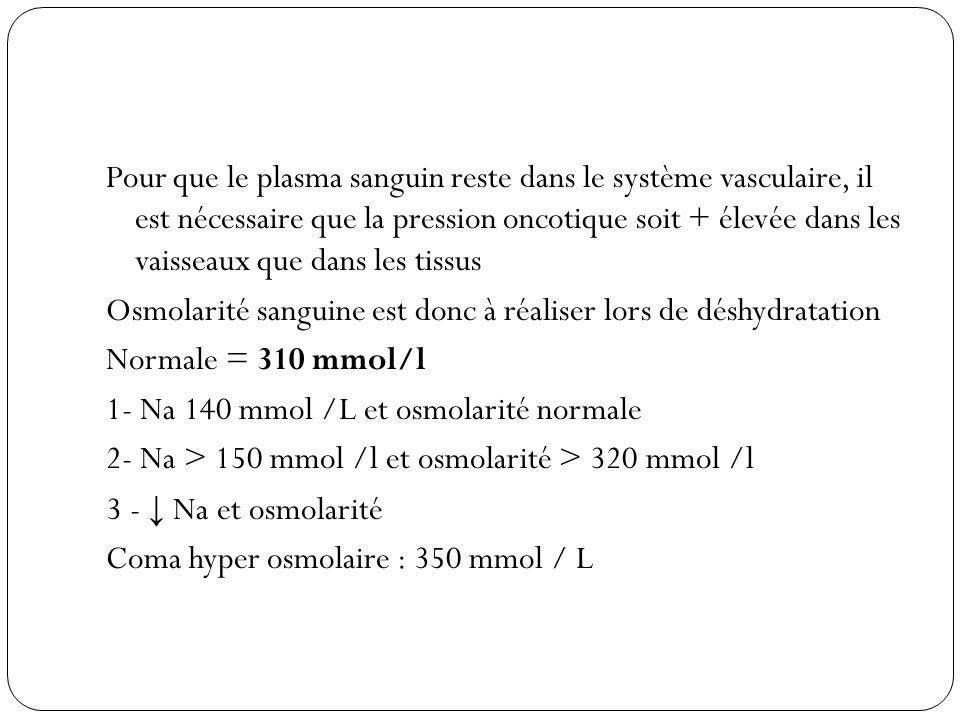 Pour que le plasma sanguin reste dans le système vasculaire, il est nécessaire que la pression oncotique soit + élevée dans les vaisseaux que dans les